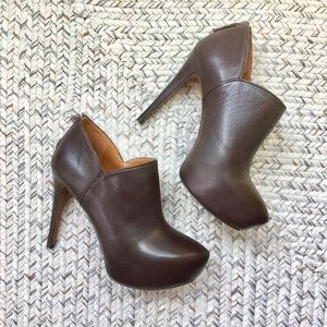 | fierce chocolate ankle booties |